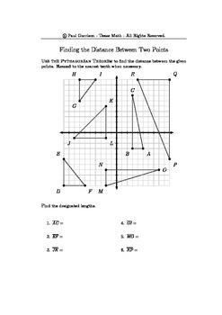 Pythagorean Theorem - Distance Between Points