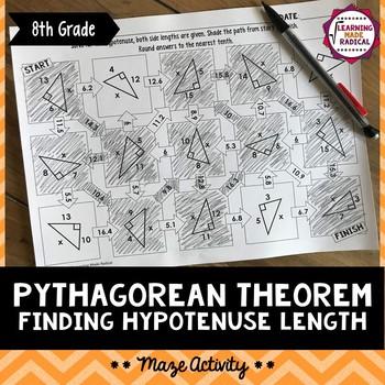 Pythagorean Theorem - Finding Hypotenuse Length Maze Activ