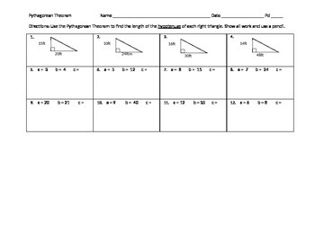 Pythagorean Theorem Hypotenuse PA CORE 8th grade
