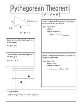 Pythagorean Theorem Notes PA CORE