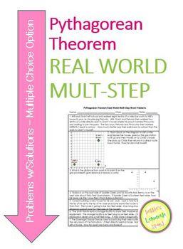 Pythagorean Theorem Real-World Multi-Step Word Problems w/