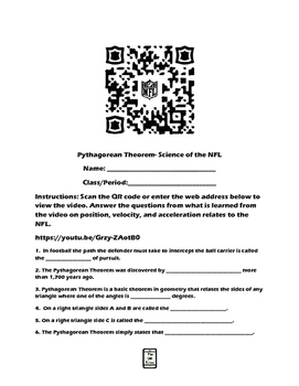 Pythagorean Theorem-Science of the NFL QR Code Video Worksheet