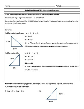 Pythagorean Theorem Skill of the Week (WK 12)