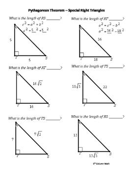 Pythagorean Theorem – Special Right Triangles