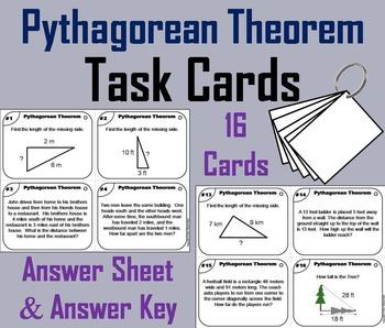 Pythagorean Theorem Task Cards/ Pythagorean Theorem Word P