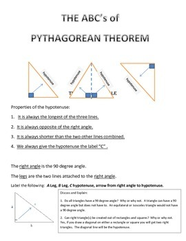 Pythagorean Theorem Triangle Part Sheet