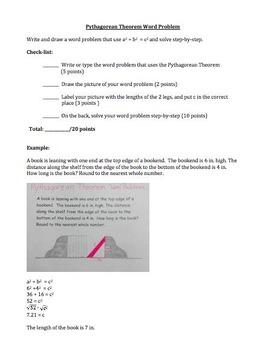 Pythagorean Theorem Word Problem Project, Pre-Algebra Asse