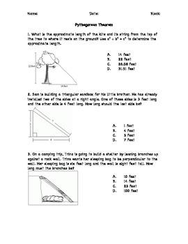 Pythagorean Theorem and Distance Formula Practice