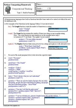 Python Programming - Computational Thinking Homework 3 (Bu