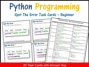 Python Programming - Spot The Error Task Cards (Answer Key