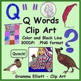 Clip Art - Q Words - Realistic Color and Black Line