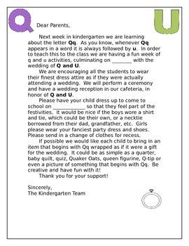 QU wedding... letter  to parents