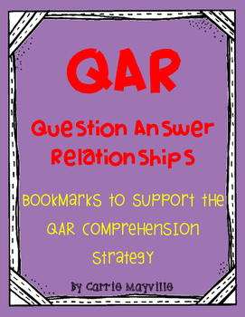 QAR- Question Answer Relationship Bookmarks