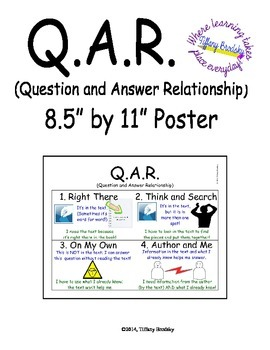 Q.A.R. Question Answer Relationship Poster for Reading & T