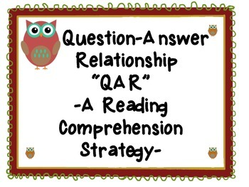 Reading Comprehension-QAR Strategy- Owl Themed Anchor Charts