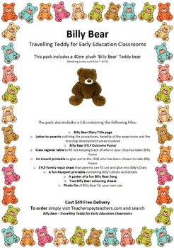QKLG 'Billy Bear' Travelling Teddy for Early Education Classrooms