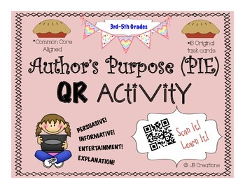 QR Activity: Author's Purpose task card game (3rd, 4th, 5t