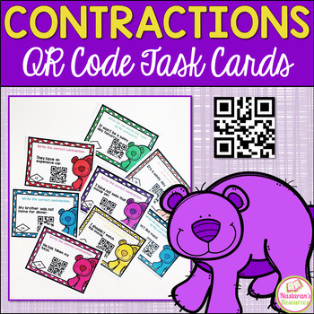 Contractions With Bears : Task Cards With QR CODES