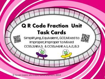 QR CODE FRACTION TASK CARDS: EQUIVALENT, GCF, SIMPLIFYING,