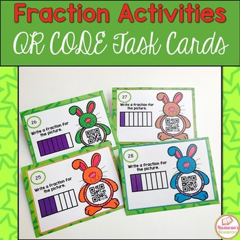 Fractions with Bunny Belly For 3rd Grade : Task Cards With