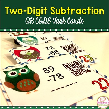 Two-digit Subtraction With Owls: Task Cards With QR CODES