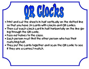QR Clocks Matching game