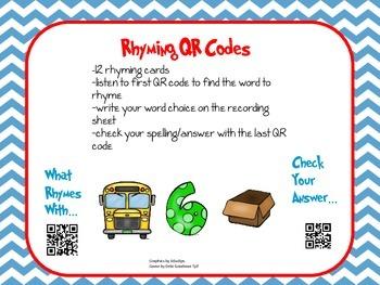 QR Code CVC Rhyming Activity