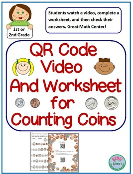 QR Code Counting Coins Video and Worksheet with Answer Key