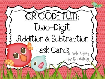 QR Code Fun: Spring Two-Digit Addition and Subtraction Task Cards