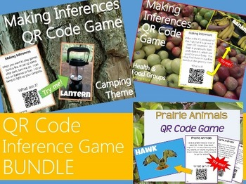 Inference Task Cards with QR Codes Bundle {Camping, Prairi