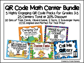 QR Code Math Center Bundle: 5 Packs at 20% Discount {25 Ce