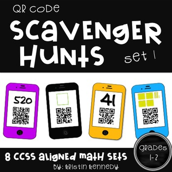 QR Code Scavenger Hunts for Grades 1 and 2 (8 Sets, Common