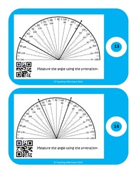 QR Code Measuring Angles Task Cards with Protractors- Not