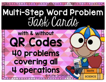 Multi-Step Word Problem Task Cards with & without QR Codes