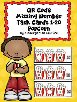 QR Code Missing Number Task Cards 0-20 Popcorn