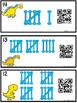 QR Code (Optional) Tally Mark Task Cards 1-20 Dinosaur Bones
