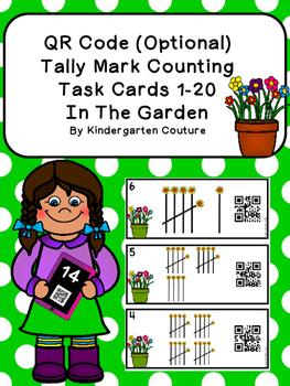 QR Code (Optional) Tally Mark Task Cards 1-20 -Garden