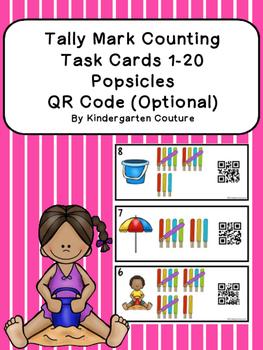 QR Code (Optional) Tally Mark Task Cards 1-20 Popsicles