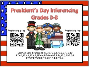 QR Code President's Day Inferencing Grades 3-8 (Common cor
