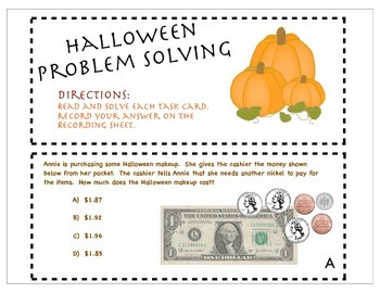 QR Code Problem Solving Task Cards -Halloween Theemed