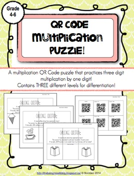 QR Code Puzzle: Multiplication Three Digits by One Digit P