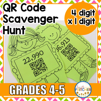 QR Code Scavenger Hunt: 4-Digit x 1-Digit Multiplication