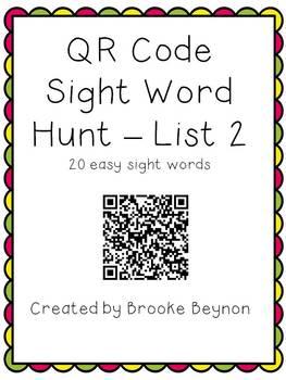 QR Code Sight Word Hunt - List 2