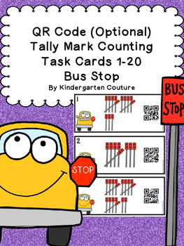 QR Code Tally Mark Counting Task Cards 1-20 Bus Stop