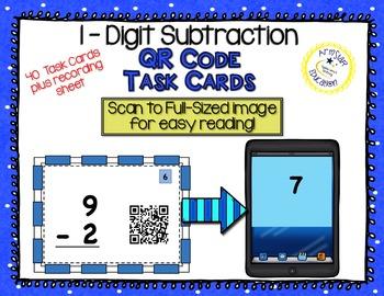 QR Code Task Cards - 1-Digit Subtraction