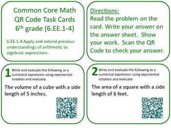 QR Code Task Cards Grade 6 Expressions & Equations Common
