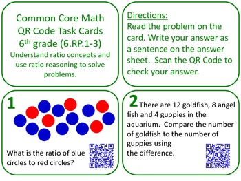 QR Code Task Cards Grade 6 Math -- Seven Sets -- Common Co