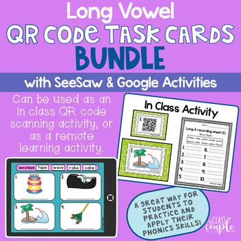 Long Vowel QR Code Task Card Bundle