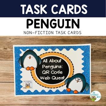 January Centers Penguins QR Codes Non-fiction task cards