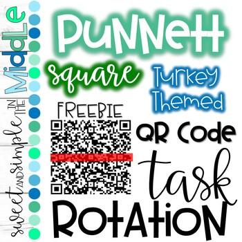 QR Code Task Rotation on Punnett Squares - Turkey Themed